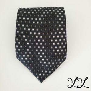 Delaveine Black White Tie All Silk Paris Geometric